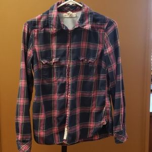 H&M pink blue button up shirt size 8